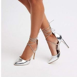 Charlotte Russe Metallic Lace Up Pumps